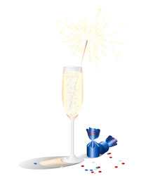 a glass of champagne and chocolates festive vector image