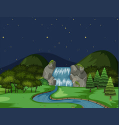a river view at night vector image