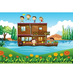 A wooden house in middle river vector