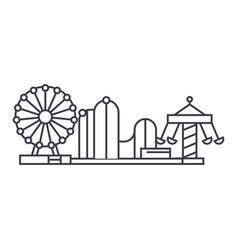 amusement park thin line icon concept amusement vector image