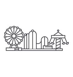 Amusement park thin line icon concept amusement vector