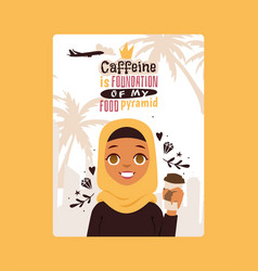 arab woman in national costume holding coffee in vector image