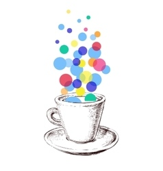 Art Sketch Coffee Cup Bubbles Hand Drawn vector