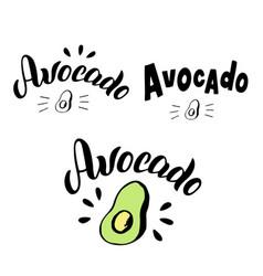 Avocado typography lettering set trendy logo menu vector