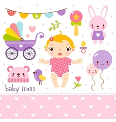 Baby icons set vector image