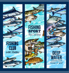 Banners for fishing or fisher sport club vector