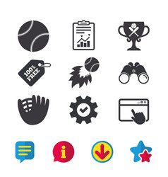 Baseball icons ball with glove and bat symbols vector