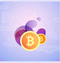 Bitcoin symbol on bubble shapes vector