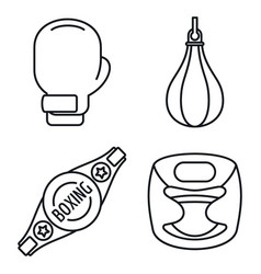 boxing equipment icons set outline style vector image