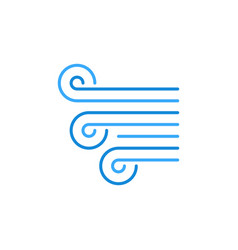 Breeze or wind concept blue line icon vector