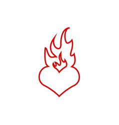burning heart icon graphic design template vector image