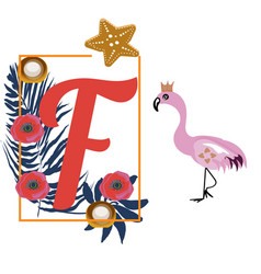cartoon flamingo and letter f tropical decoration vector image