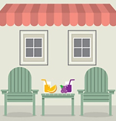 Chairs Set With Fruit Juice Under Awning And vector