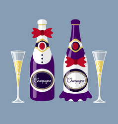 Champagne of the newlyweds bottle with glass flat vector