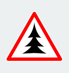 christmas tree warning triangle road sign vector image