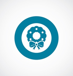 Christmas wreath icon bold blue circle border vector image
