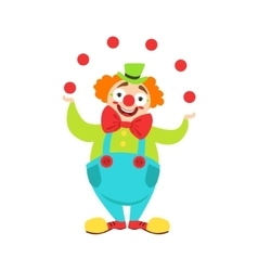 Circus clown artist in classic outfit with red vector