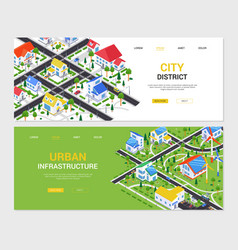 City district - set colorful isometric web vector