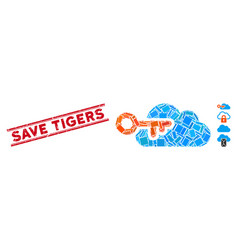 Cloud access mosaic and scratched save tigers seal vector