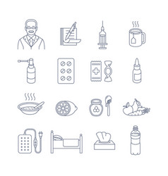 Cold and flu treatment thin line contour icons vector