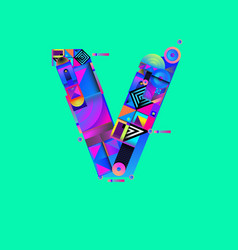 Colorful alphabet font letter v for logo vector