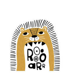 Cute cartoon lion in scandinavian say roar vector
