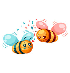 cute couple bees in love valentine day vector image