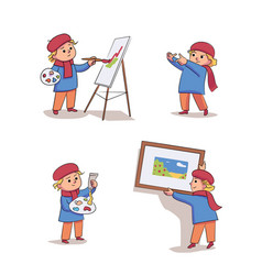 Cute kid artist set isolated on white background vector