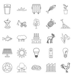 destruction of nature icons set outline style vector image