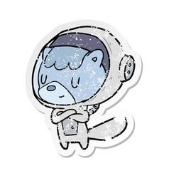 Distressed sticker of a cartoon astronaut animal vector