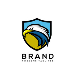 Eagle head with shield logo template vector
