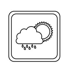 Emblem cloud rainning with sun icon vector
