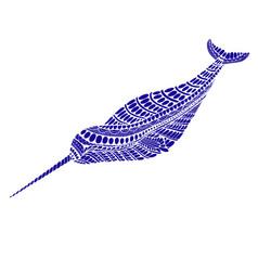 fantasy ornamental narwhal blue color vector image