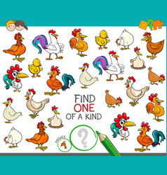 Find one of a kind with chicken animal characters vector