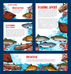 fish banners set for fishing sport design vector image vector image