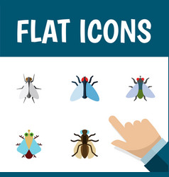 Flat icon housefly set of fly tiny housefly and vector
