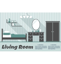 Flat living room interior vector