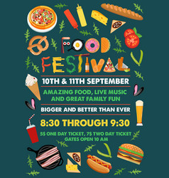 food festival flyer with food alphabet vector image