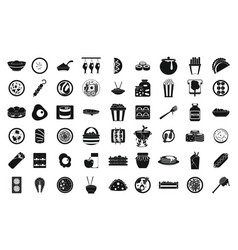 food icon set simple style vector image vector image