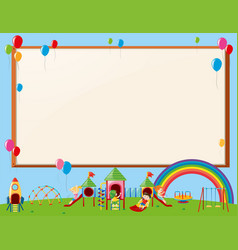 Frame design with kids in playground vector