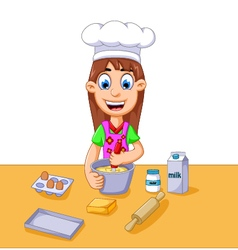 funny cartoon girl making cake vector image
