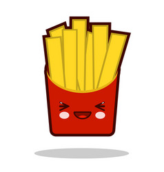 Funny french fries cartoon character icon kawaii vector