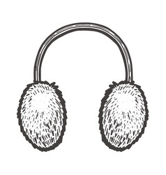 fur headphones vector image