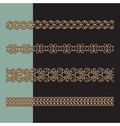 Gold border set vector