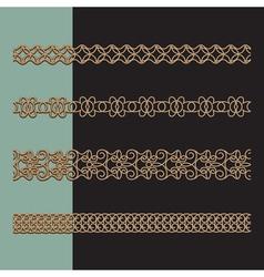 Gold border set vector image