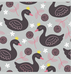 Gray seamless pattern with black princess swan vector