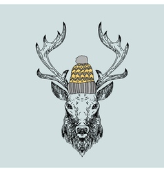 Hand drawn wild deer in knitted cap vector