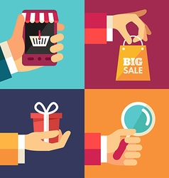 Hand with Smartphone Hand with Shoping Bag Hand vector image