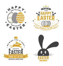 Happy easter card badge logo sign vector