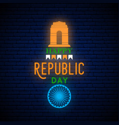 happy india republic day neon vertical greeting vector image